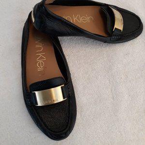 """Calvin Klein """"Lisette"""" Leather Loafer Black w/Gold"""